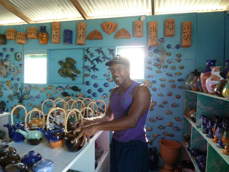 Potter WInston Paul, at his studio in Chalky Mount, Barbados