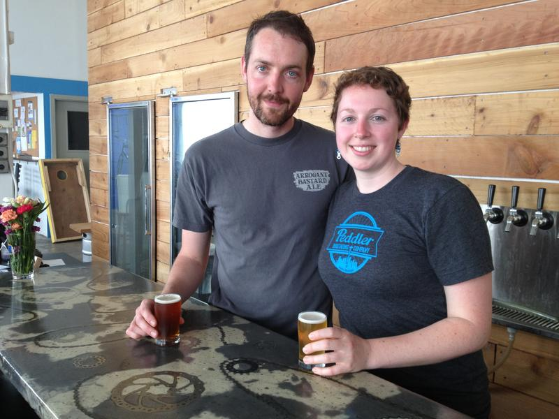 Peddler Brewing Company's founders Dave Keller and Haley Woods.