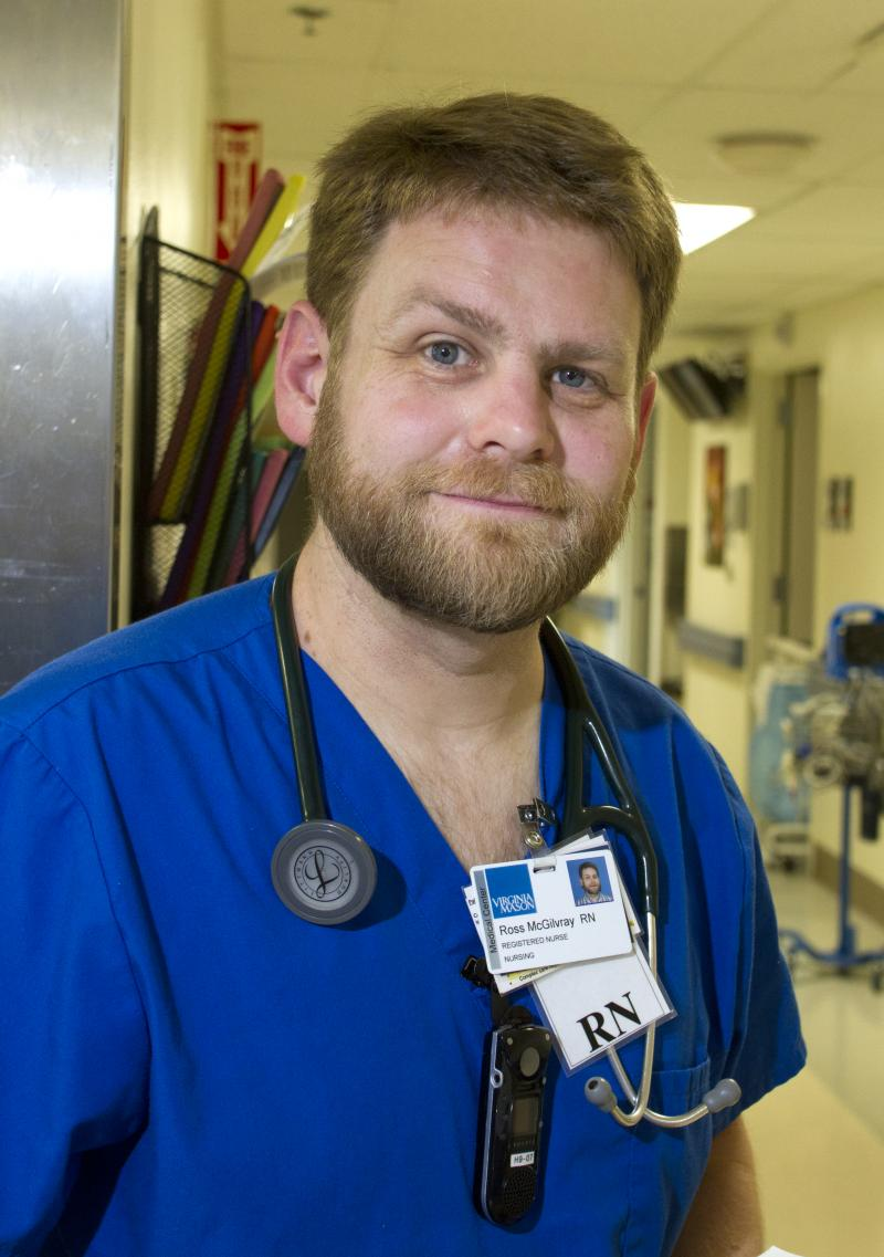 Ross McGilvray works as a registered nurse in the Medical Telemetry unit at Virginia Mason Hospital in Seattle, Wash.