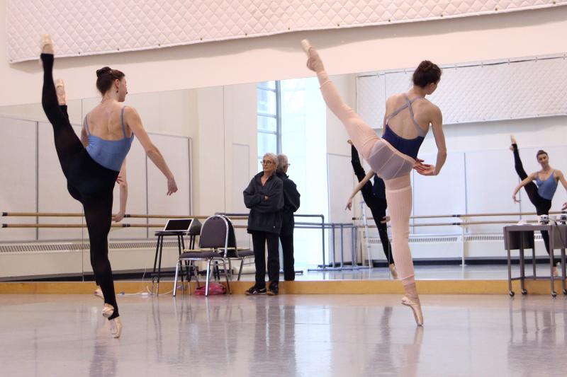 "PNB dancers rehearse Twyla Tharp's ""Waiting at the  Station."""
