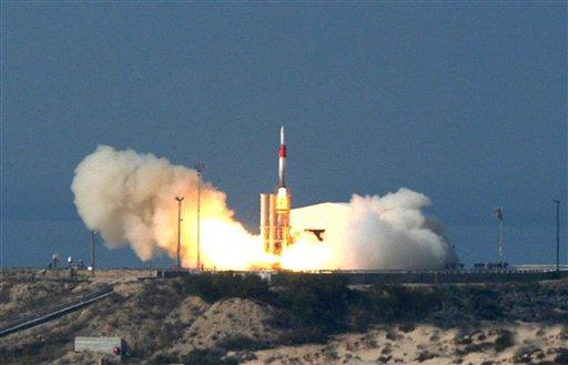 This file photo, released in December 2005, shows an Arrow missile being launched at an undisclosed location in Israel. This is the same type of missile used in a joint test with the US on September 3 over the Mediterranean.