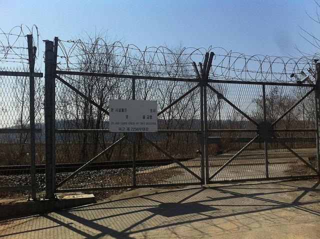 The border fence between North Korea and South Korea in the demilitarized zone.