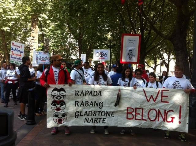 A group gathered in downtown Seattle on Friday to protest potential disenrollment from the Nooksack tribe.