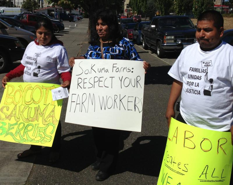 Immigrant advocates and workers on strike from Sakuma Brothers Farms boycott a store in Seattle's Ballard neighborhood in August.
