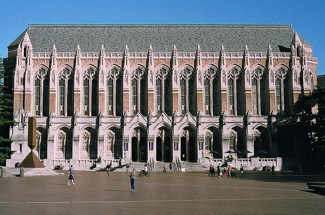 Suzzalo Library in the heart of the UW's Seattle campus.