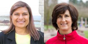 Bellevue City Council candidates Vandana Slatter and Lynne Robinson.