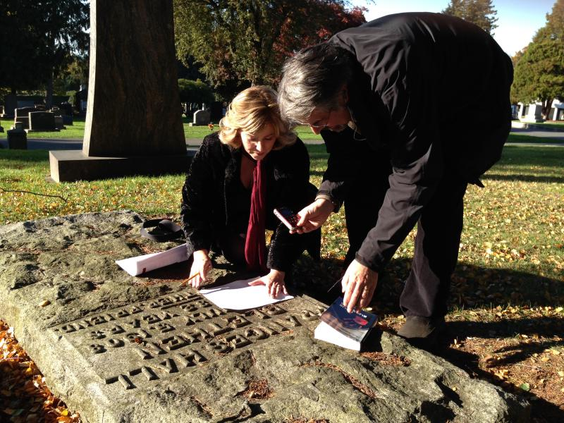 "Author Jennifer Hotes and KUOW's Steve Scher at Lakeview Cemetery, the inspiration behind Hotes' book ""Four Rubbings."""