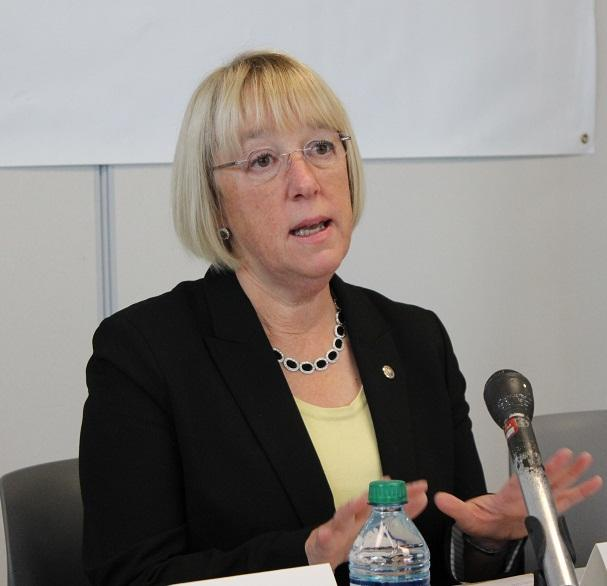 US Senator Patty Murray at a press conference at Seattle Jewish Service