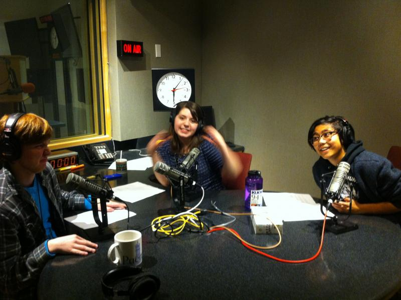 RadioActive's Isaac Noren, Kendra Hanna and Nina Tran recording this podcast at KUOW.
