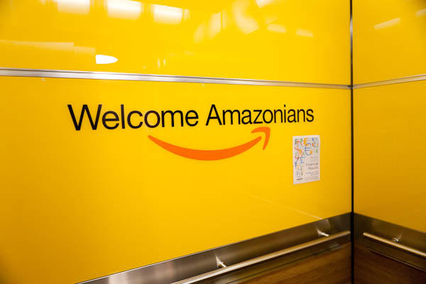The inside of the elevators at Amazon headquarters in Seattle. People who work at Amazon refer to themselves as Amazonians.