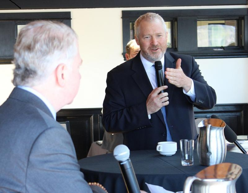 Mayor Mike McGinn and State Senator Ed Murray debating at a Ballard Chamber of Commerce luncheon last month