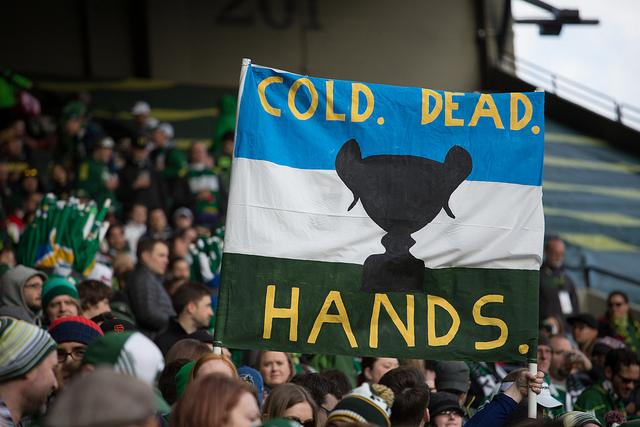 Despite the message of the sign, Portland Timbers fans may have to turn over the Cascadia Cup to Seattle if the Sounders beat or tie the Vancovuer Whitecaps tonight.
