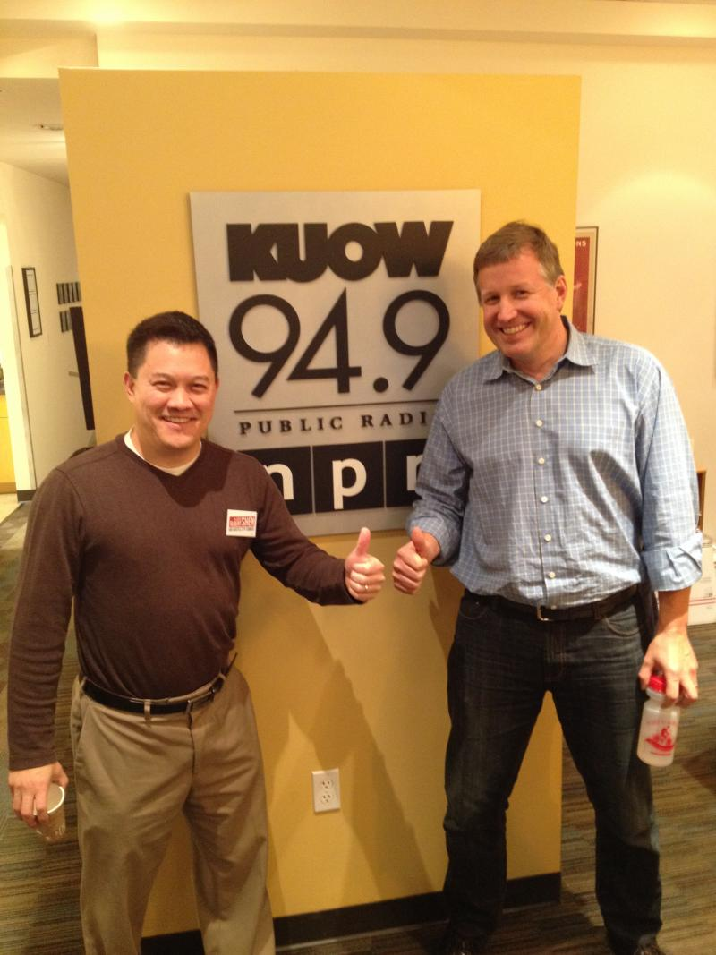 Seattle City Council candidates Albert Shen and Mike O'Brien at KUOW studios.
