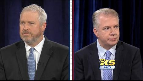 Screen shot of Mayor Mike McGinn and State Senator Ed Murray in their first televised debate of the Seattle mayor's race