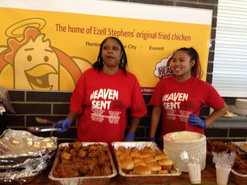 Bettina Blanchard and her coworker from Heaven Sent Fried Chicken handed out food to visitors at the fair.