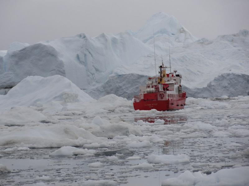 Boat near Ilulissat, Greenland.