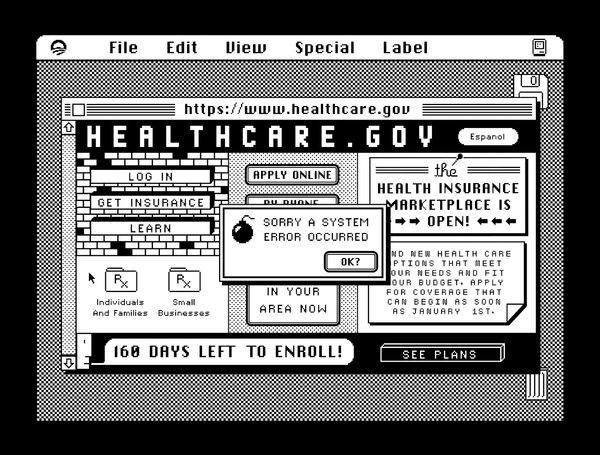 A HyperCard parody of the federal health care exchange, which has been plagued by technical issues since rolling out earlier this month.