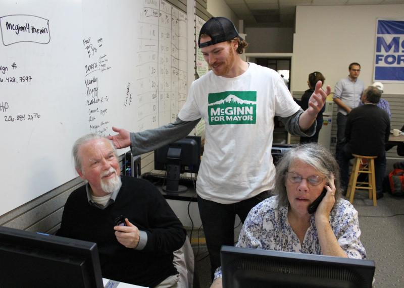 Mayor Mike McGinn's nephew, Patrick McGinn, helping at a volunteer phone bank