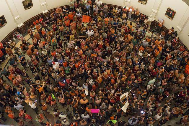 Earlier this year, people protesting restrictive abortion laws in Texas staged a sit-in at the state capitol. The bill passed, but key portions were blocked by a recent court ruling.