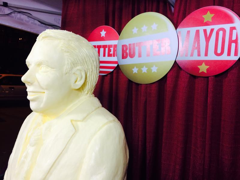 At Sen. Ed Murray's election night party, the apparent mayor-to-be was featured in butter.
