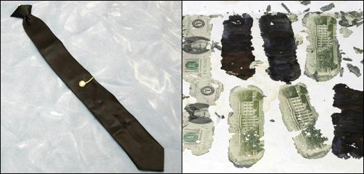 The infamous necktie and bills found on the Columbia River.