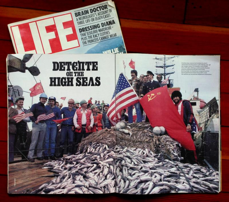 A copy of Life Magazine details the joint fishing venture between the US-Societ Union during the Cold War.