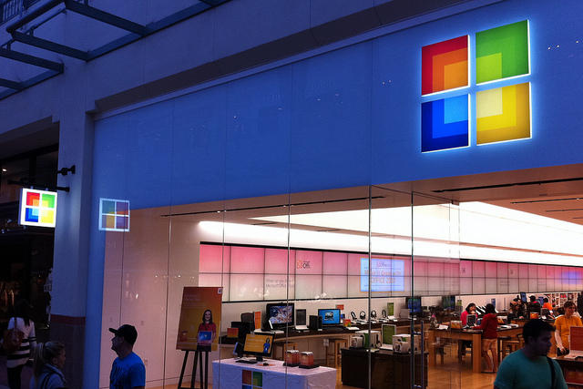 Brick and mortar retail like this Microsoft store are still big compeition for online shopping.