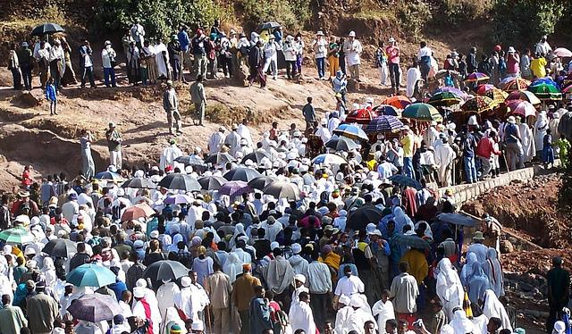 A crowd of people in Lalibela, Ethiopia.