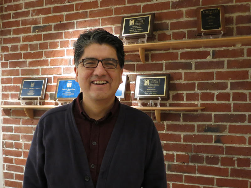 Poet and novelist Sherman Alexie in the KUOW studios.