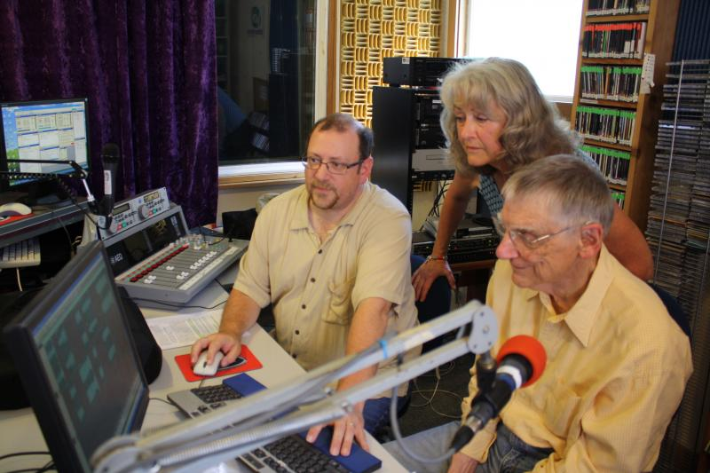 Audio engineer Michael Golen-Johnson, Voice of Vashon co-founder Susan McCabe and jazz DJ Bill Wood.