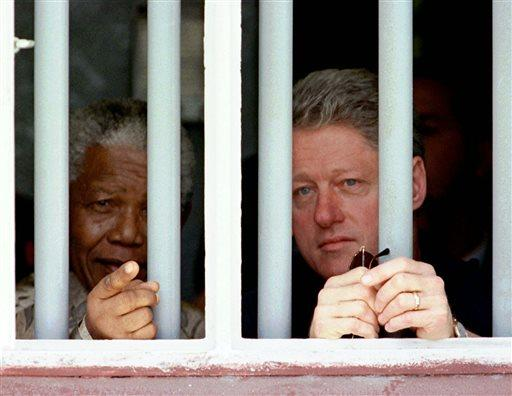 Nelson Mandela and former US President Bill Clinton.