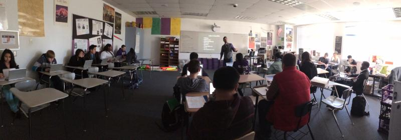 Giron teaching a world history class.