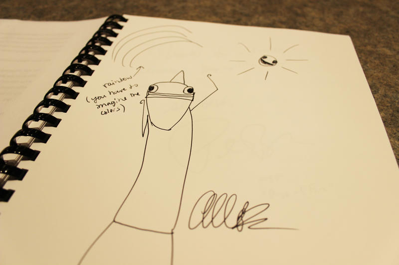 Allie Brosh graces the KUOW signature book with a drawing and signature.