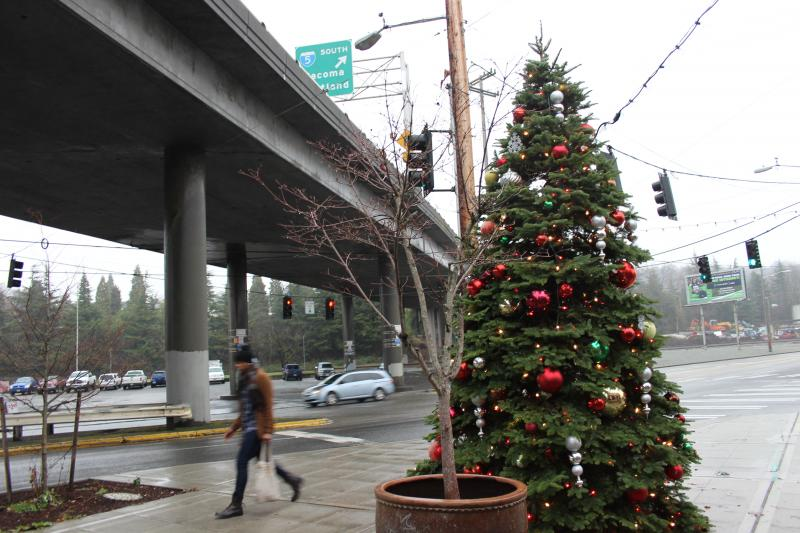 Georgetown shows its holiday spirit with a Christmas tree on Airport Way.