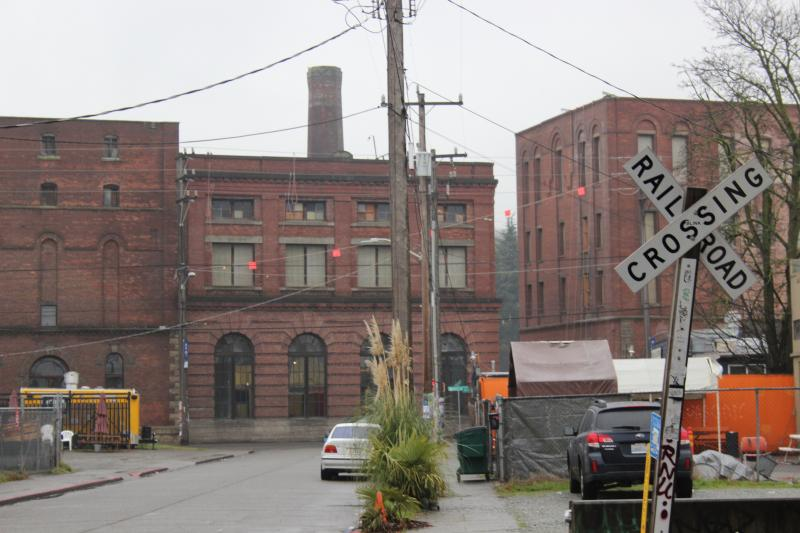 A vew of what's left of the former Seattle Brewing and Malting Company, once home to Rainier Beer.
