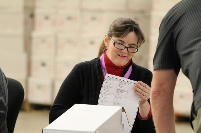 Election worker tallies ballots in SeaTac recount