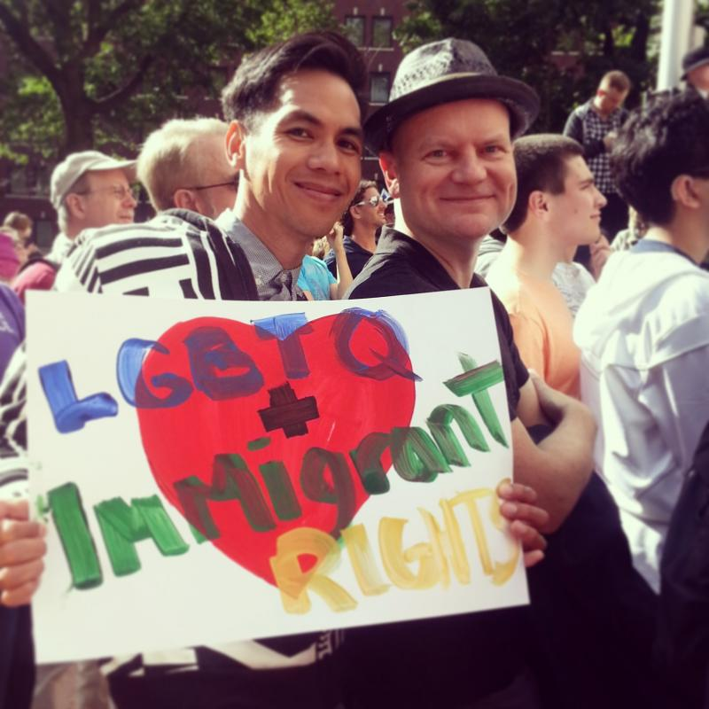 Local couple Otts Bolisay and Ken Thompson join a demonstration on June 26, 2013, the day DOMA was struck down in the U.S. Supreme Court.