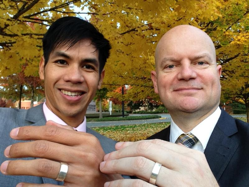 Otts Bolisay and Ken Thompson, outside the Redmond courthouse on their wedding day, Nov. 1.