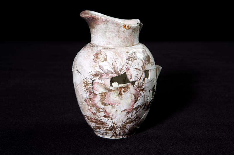 Remnants of a vase assembled from before Bertha's dig. The vase is now at the Burke Museum.