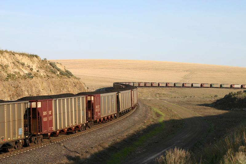 A coal train makes its way through Eastern Washington.