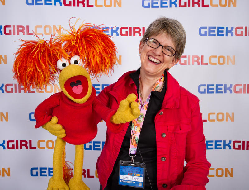 "Karen Prell and Red from ""Fraggle Rock"" at this year's GeekGirlCon in Seattle."