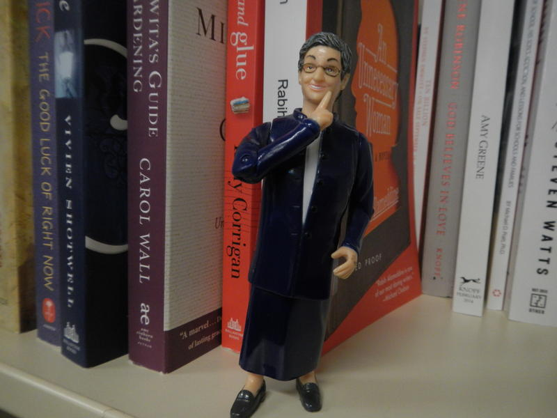 Nancy Pearl checks out KUOW's free bookshelf.
