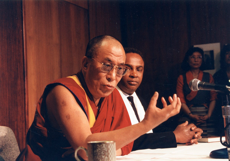 Norm Rice, right, and the Dalai Lama, in Seattle in 1993.