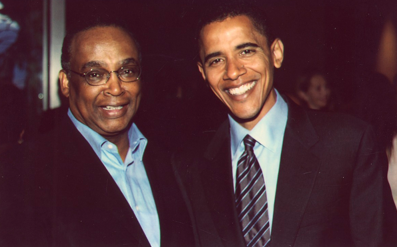 Norm Rice, left, and Barack Obama, around 2008.