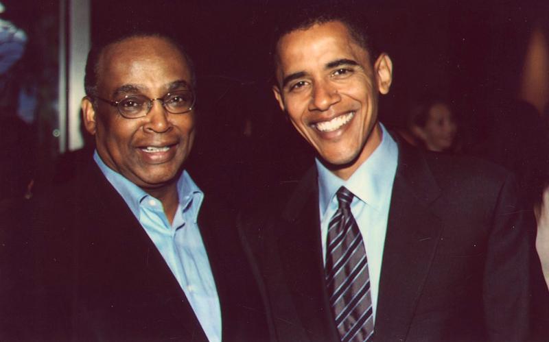 Norm Rice, left, and Barack Obama, around 2008.