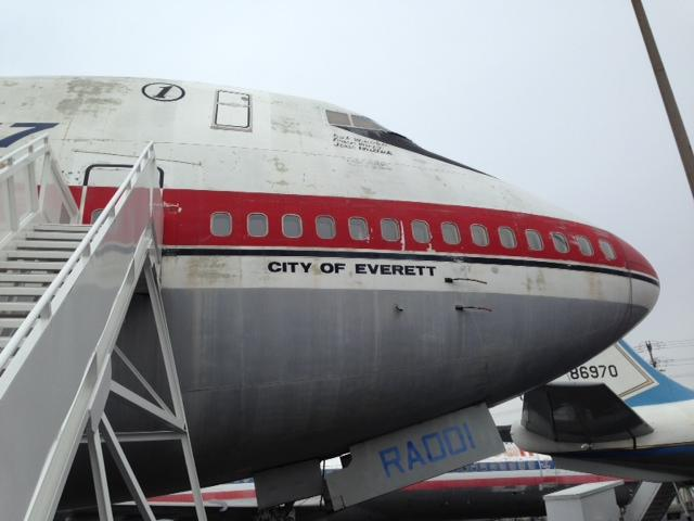 The nose of the original 747 at the Museum of Flight.