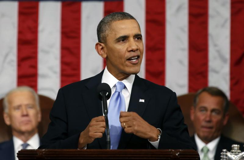 President Barack Obama delivers the State of Union address before a joint session of Congress in the House chamber on Tuesday, January 28.