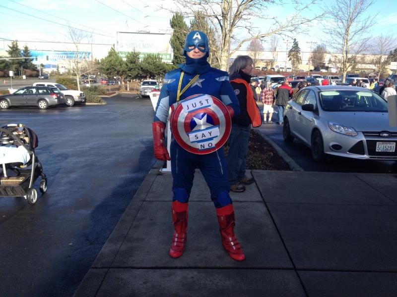 James White, a Boeing machinist, said that he voted against the contract and dressed as Captain America to encourage others to do the same at the Everett Machinists Union vote last week.