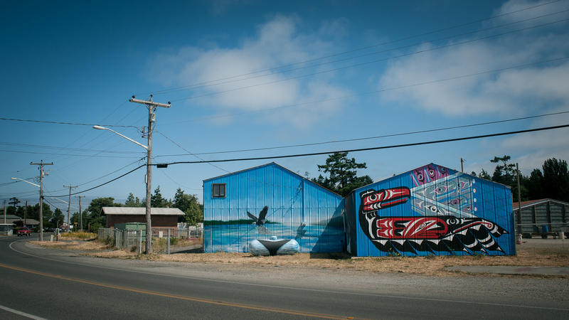Mural near the Fisherman's Cove Marina and Lummi Island Ferry on Lummi Nation.