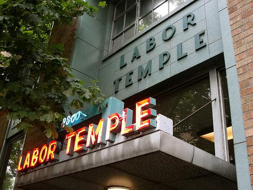 Seattle's Labor Temple, with its distinctive neon sign